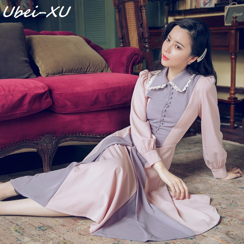 Ubei Spring 2019 new women Victoria French retro dress ladylike style Color stitching long sleeved full