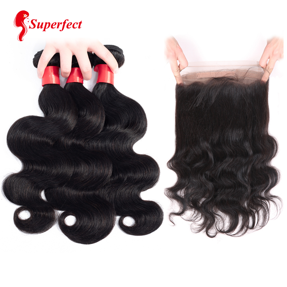 Superfect 360 Lace Frontal Closure With Bundle Brazilian Body Wave Human Hair 360 Frontal with Bundles