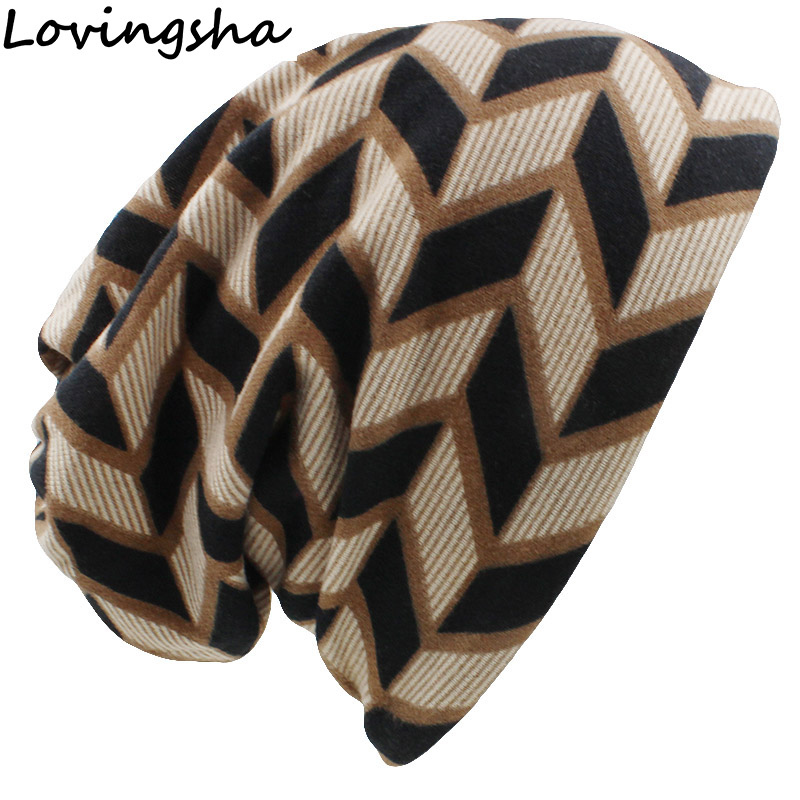 LOVINGSHA Autumn Winter Plaid Design Dual-use Women Hats Skullies Beanies For Ladies Thin Girl Fashion Feminino Scarf HT068