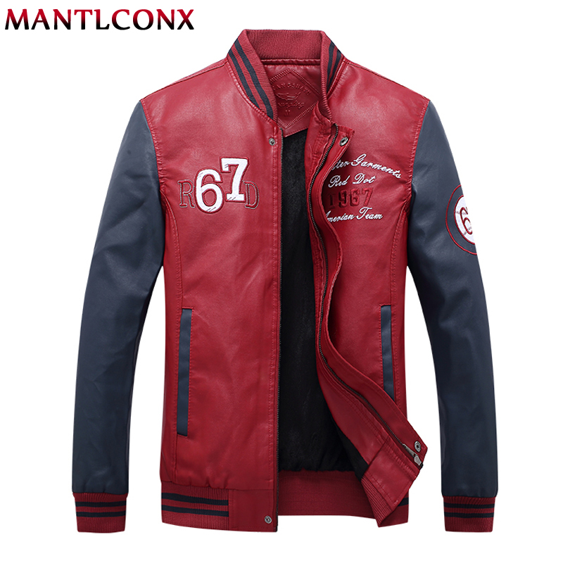 Mantlconx 2019 Leather Jacket Men Coats Brand High Quality Pu Outerwear Men Winter Fleece Male Jacket Spring Baseball Jacket Men