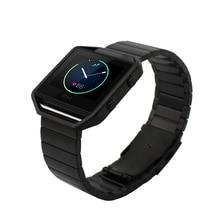 Pulseira de Aço Inoxidável prata preto Ouro Luxo Metal Ajustável Faixa de relógio Cinta Para Blaze Fitbit Inteligente + Quadro