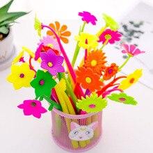 50 adet/grup çiçek jel kalem yazma için kawaiiplant 0.38mm siyah mürekkep nötr kalem kırtasiye okul malzemeleri Papelaria