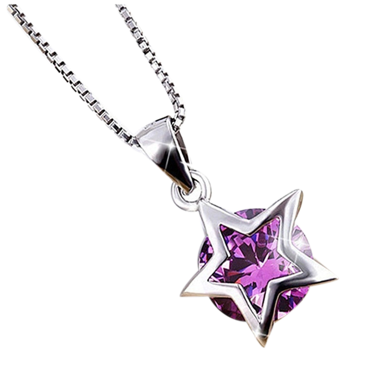 Silver tone Plated Zircon Crystal Five pointed Star Pendant Chain Necklace font b Jewelry b font