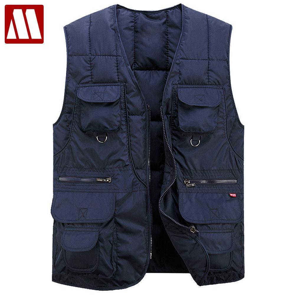 Multi Pocket Cotton Vest For Men Winter Padded Casual