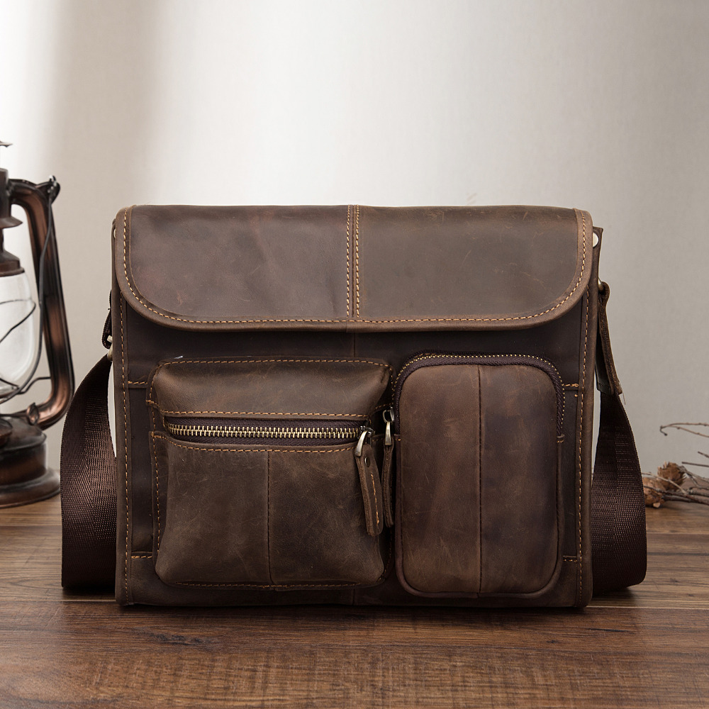 New Fashion Real Leather Male Casual Messenger Bag Satchel Design 11