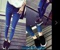 Mulheres de cintura alta joelho buraco rasgado jeans skinny azul calças lápis