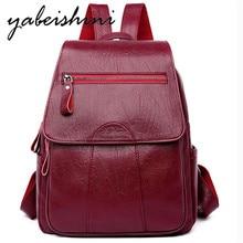 New Ladies Shoulder backpack Womens leather Flap zipper Female travel girl school bag Fashion shoulder