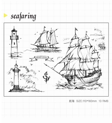 WYF931 Sea Faring Scrapbook DIY Photo Album Cards Transparent Acrylic Silicone Rubber Clear Stamps Sheet  11x16cm wyf1017 scrapbook diy photo album cards transparent silicone rubber clear stamp 11x16cm camera