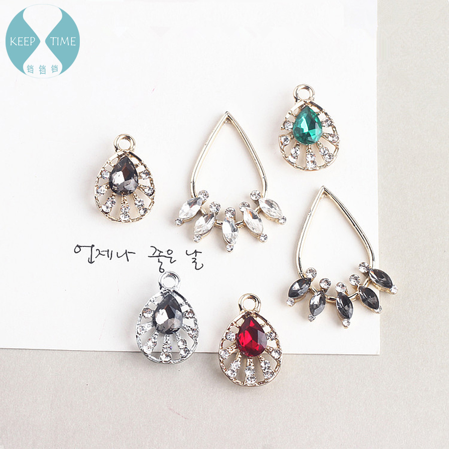 Diy jewelry accessories alloy water droplets studded shell studded with hanging earrings earrings pendant material pendants