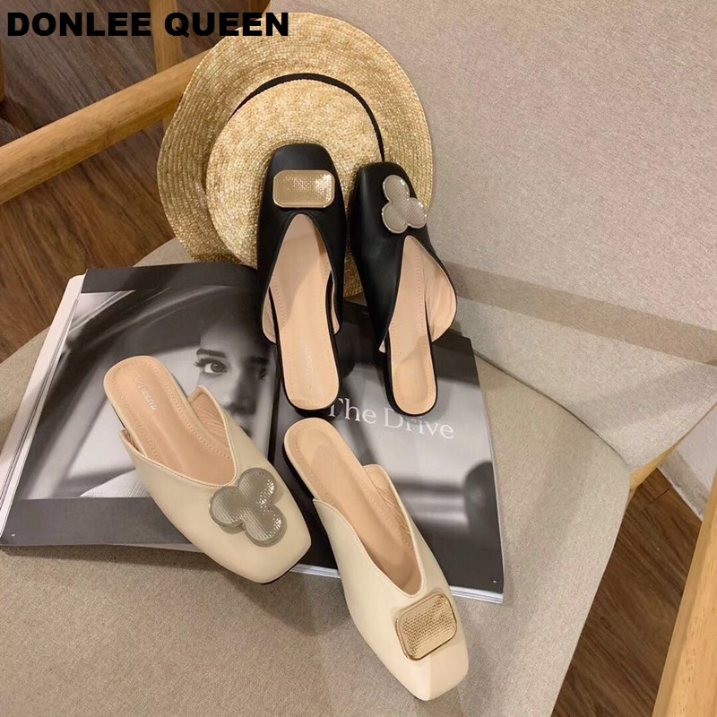 Women Mule Shoes Brand Slippers Square Toe Flat Casual Shoes Metal Decoration Slides Slip On Outdoor Slipper Zapatos Mujer Shoes