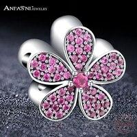 ANFASNI Luxury 100 925 Sterling Silver Purple Crystals Flower Charm Fit Original Bracelet Necklace Pendants Authentic