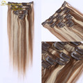 8A brown highlight blonde clip in hair extensions double weft piano #6/#613 balayage clip in human hair extensions clip-ins