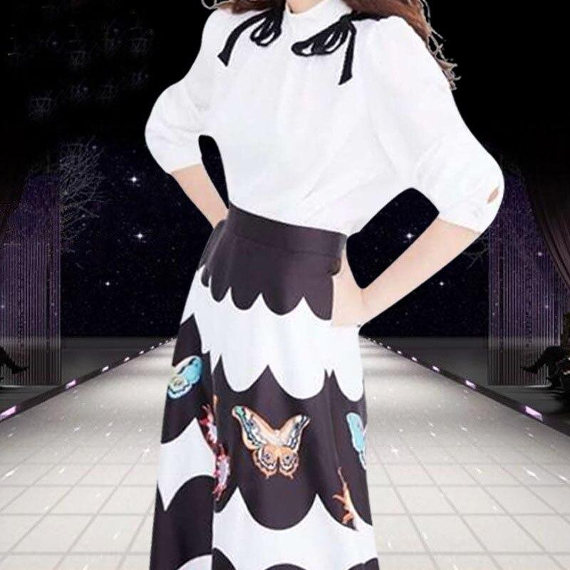 ligne Ensembles Élégante K610 Blouses Longues Robe Pièces Blanc Costumes Moulante Turtleeck Manches Deux À A Pour Femme Imprimée Dame qzzUx7E6