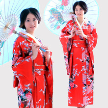 Japanese kimono women bathrobe and performance dance national costume women satin kimono evening dress pass