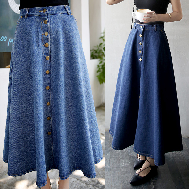 Popular Ladies Long Denim Skirts-Buy Cheap Ladies Long Denim ...