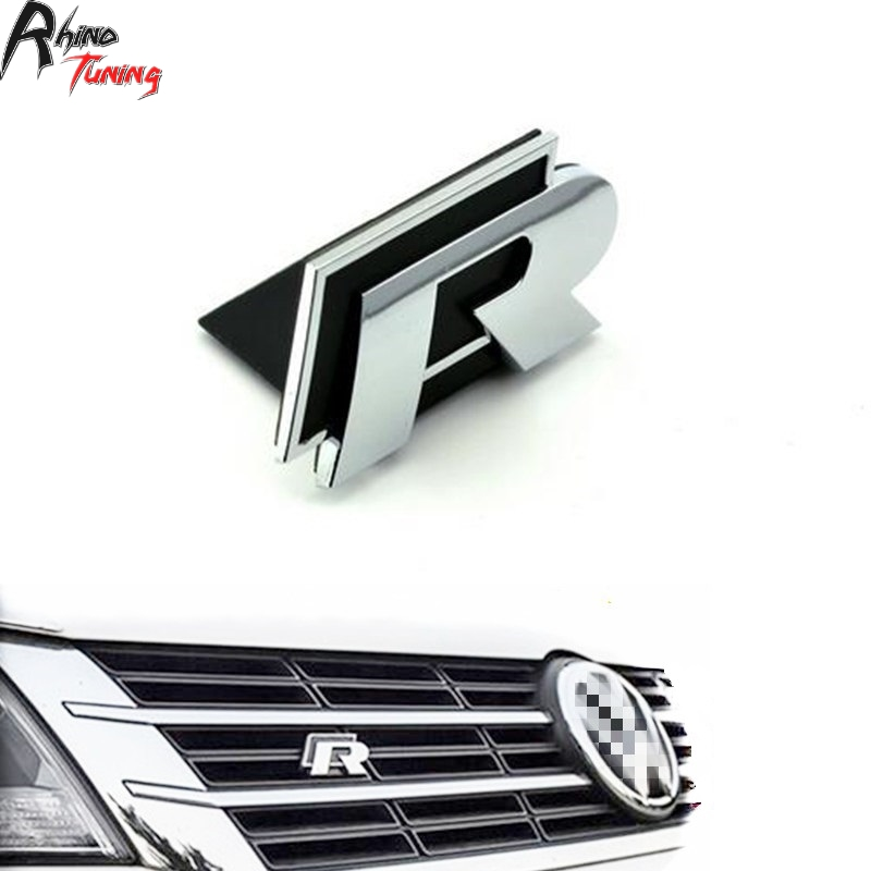 Rhino Tuning R Logo Car Grille Car Emblem For Golf R32 R400 R20 R50 R36 The Beetle Scirocco R Logo Front Grill Car Badge 40 abs decorative led emblem logo light front grille for f ord r anger t7 2016 2017 car styling 4 colors grill lamp