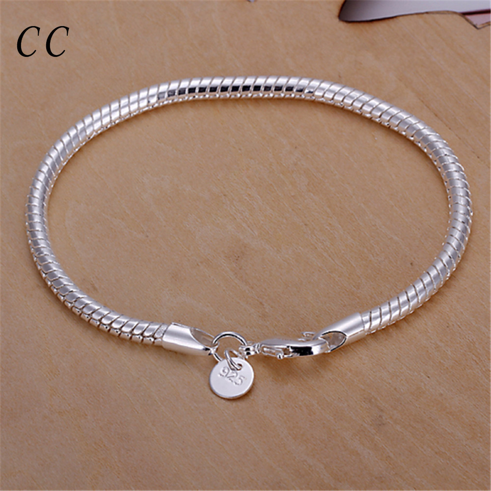 4 Mm Snake Chain Wholesale Simple Chain & Link Bracelets For Women Silver  Plated Jewelry Accessories Cheap New Arrival Ccne0666