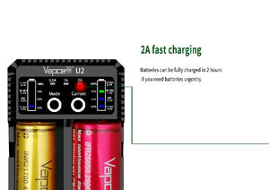 Image 4 - Original Vapcell U2 2A Smart mini charger USB for Li ion / Lifepo4 / Ni MH/Ni Cd AAA AAAA C D battery charger 2A fast charging