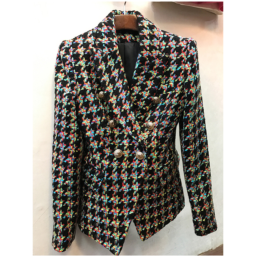 HIGH QUALITY Newest Fashion 2018 Designer Blazer Women's Lion Buttons Colors Houndstooth Tweed Jacket Overcoat
