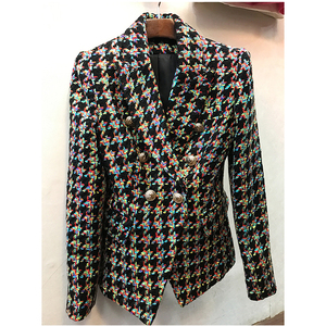Image 1 - HIGH QUALITY Newest Fashion 2020 Designer Blazer Womens Lion Buttons Colors Houndstooth Tweed Jacket Overcoat