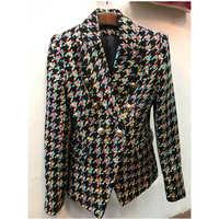 Haute qualité nouvelle mode 2018 Designer Blazer femmes Lion boutons couleurs pied de poule Tweed veste pardessus