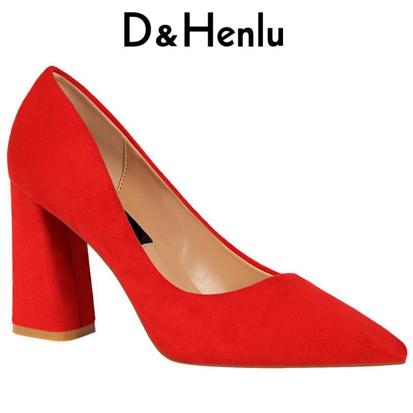 {D&Henlu} Red Pumps Women Thick Heel Ladies Shoes Woman Square Heel Pumps Woman Heel Shoes Pumps Wedding Shoe zapatos de tacon стоимость