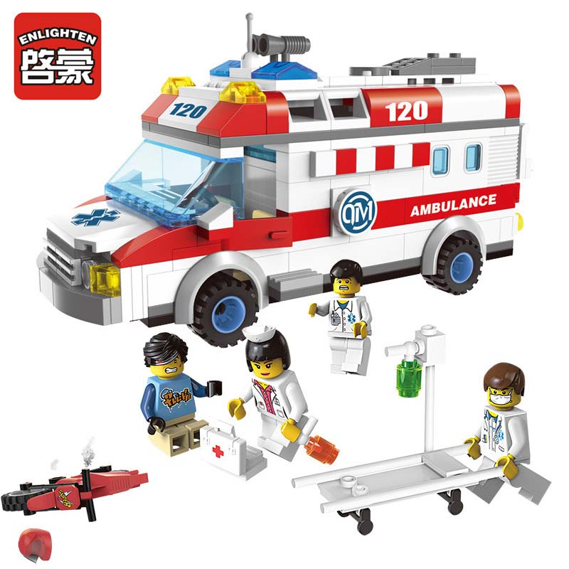 Enlighten 328pcs City Ambulance Car Compatible LegoINGs DIY Building Blocks Sets Figures Bricks Educational Toys For Children