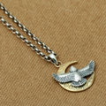 S925 sterling silver pendant S925 silver Moon Eagle pendants Thai silver small ladies necklace pendant Thai silver pendant