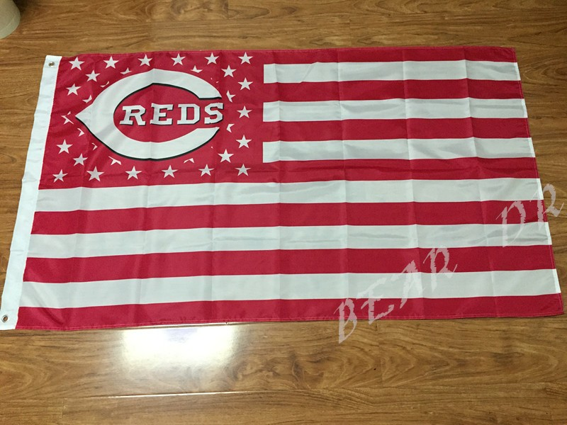 Cincinnati Reds Flag MLB Banner brass metal holes Flag Custom flag 3X5FT OR 2X3FT two sizes can Choose