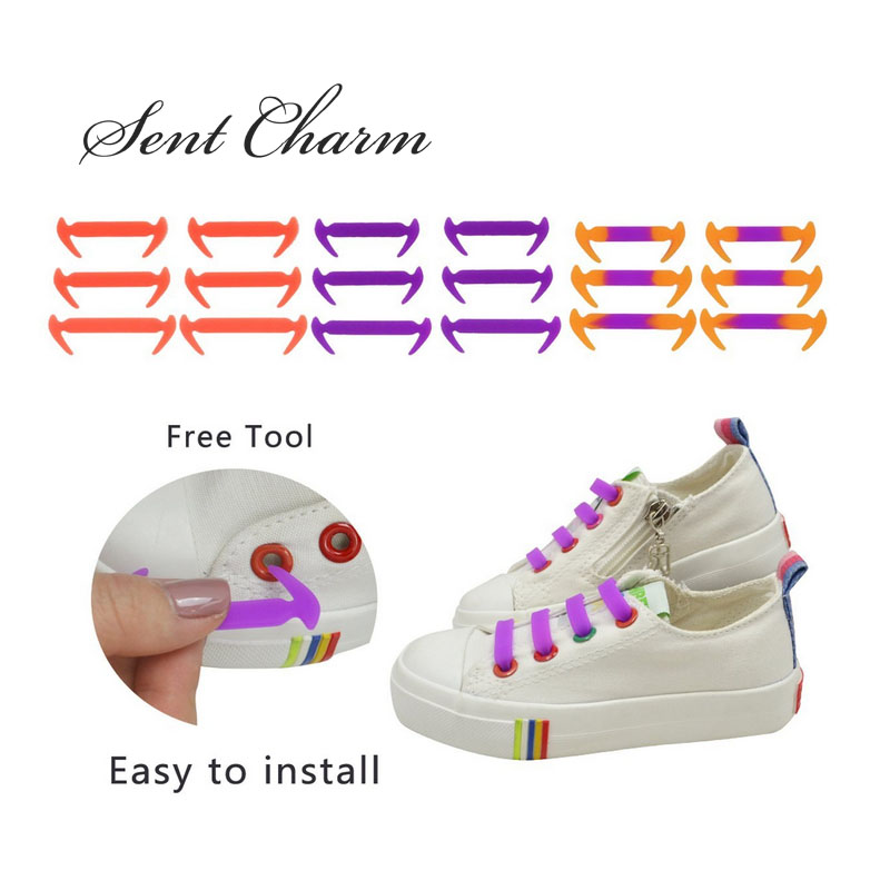SENTCHARM 12pcs/Pack New Design Colorful No Tie Silicone Shoelaces For Kids Canvas Shoes Sneakers Fit Strap glowing sneakers usb charging shoes lights up colorful led kids luminous sneakers glowing sneakers black led shoes for boys