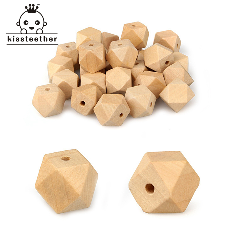 18mm Wooden Geometric Hexagon Beads Nursing Chewing Wooden Teether Toys For Baby Teether Necklaces/bracelets DIY Baby Teether