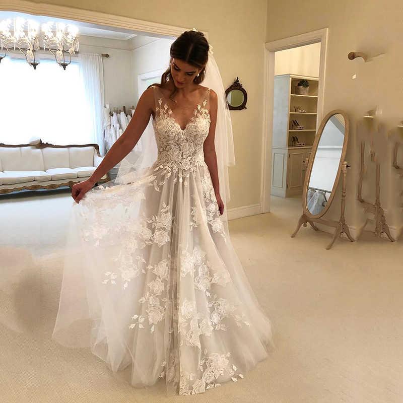 Платье трапециевидной формы/принцессы с v-образным вырезом со шлейфом из тюля, кружевное свадебное платье с бисером