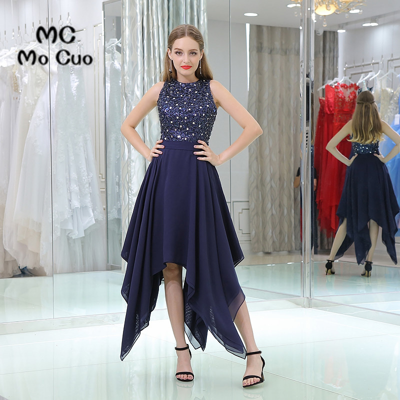 Dark Blue   Prom     dresses   Asymmetrical Vestidos de fiesta   dress   for graduation Sleeveless Beaded Chiffon Tank Evening   Prom     Dress