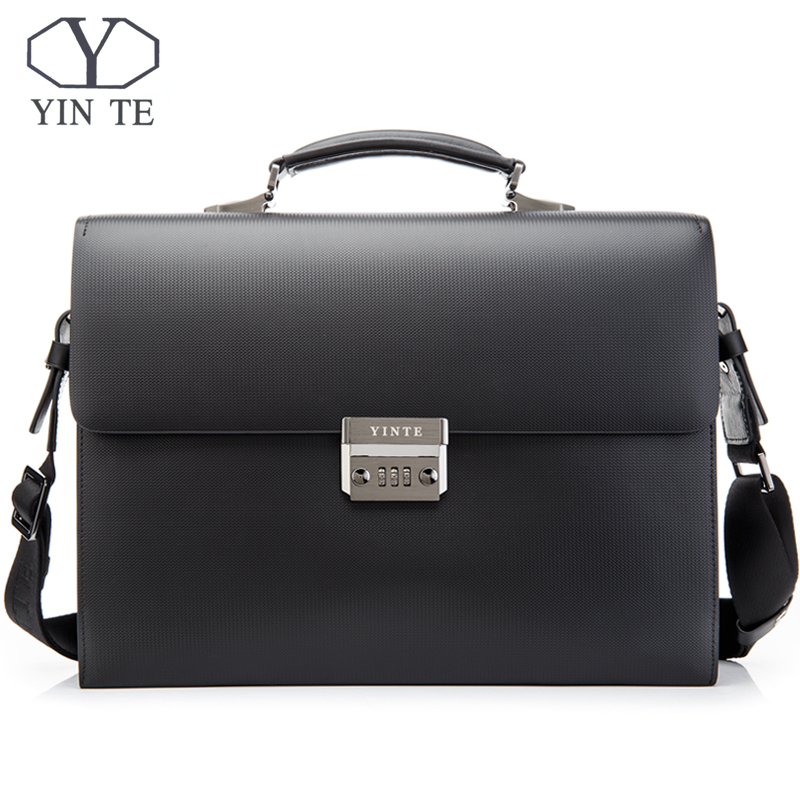 YINTE Leather Men Briefcase High Quality Famous Black Men's Laptop Briefcases Business Handbag Messenger Bag Portfolio T8203-3