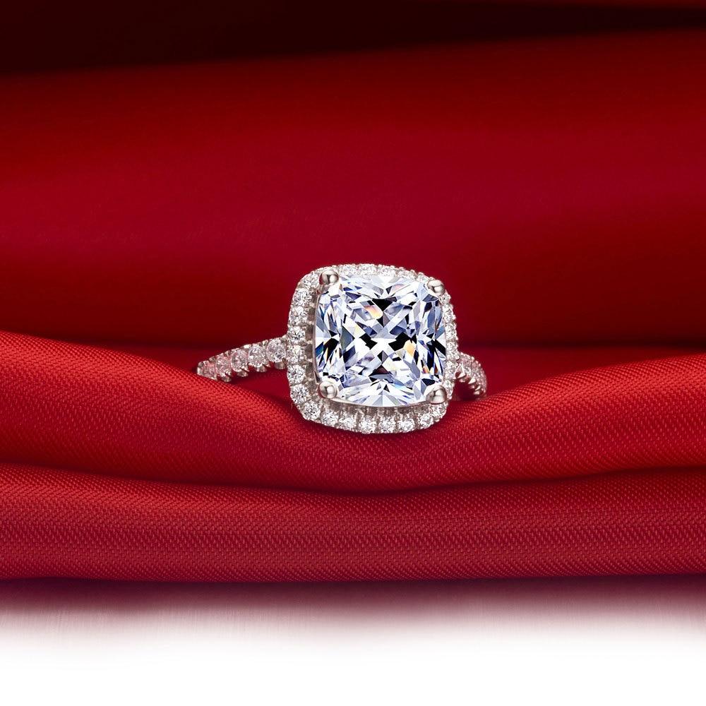 Genuine 14K White Gold Finger Ring Top Quality 2CT Brilliant Halo ...