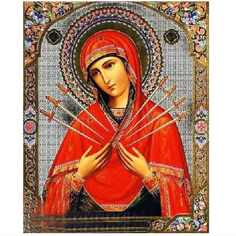 Купить на aliexpress DPF алмазная живопись на религиозную тематику 5d круглая дрель Алмазная картина вышивка крестиком наклеиваемый жрец номер Декор Картина с ал...