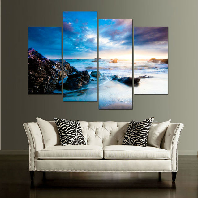 Canvas Wall Art Modular Picture Landscape Painting 4 Panel Beautiful Flowers Frames Modern Living Room