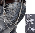 Classic Silver Metal 3 Strands Star Wallet Chains Keychain Spike Biker Hip Hop Jeans Unisex Chain