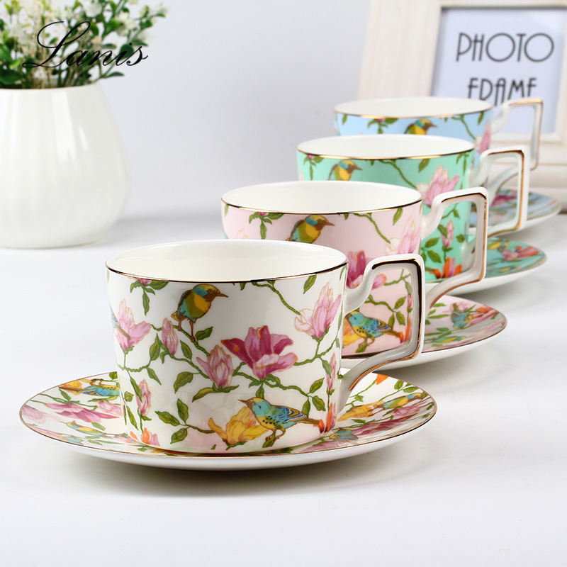 European Coffee Cup Disc Bone Porcelain Household Red Teacup English Afternoon Tea Set Export Ceramic Gifts