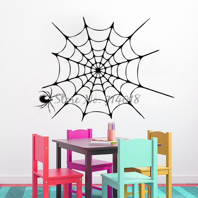 Happy Halloween Wall Decals Spider In A Web Vinyl Decal Stickers Halloween  Sticker Living Room Murals