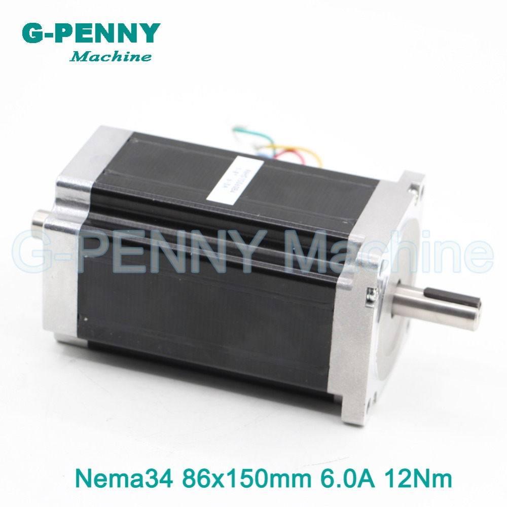 NEMA 34 Double Shaft CNC stepper motor 86X150mm 12 N.m 6A nema34 stepping motor 1700Oz-in for CNC engraving machine 3D printer new double shaft motor nema 23 stepper