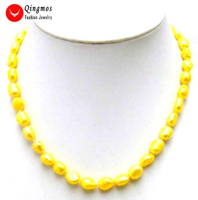 9780b91cf88b Qingmos moda amarillo collar de perlas para mujeres con 7-9mm barroco perla  Natural de