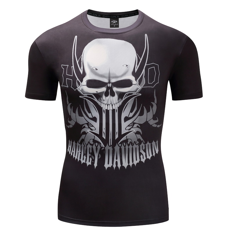 2018 Men T Shirts Fashion Skull Design Short Sleeve Casual Tops Davidson Harley Motor T-Shirt 3D Skull Printed T-Shirt Cool Tee
