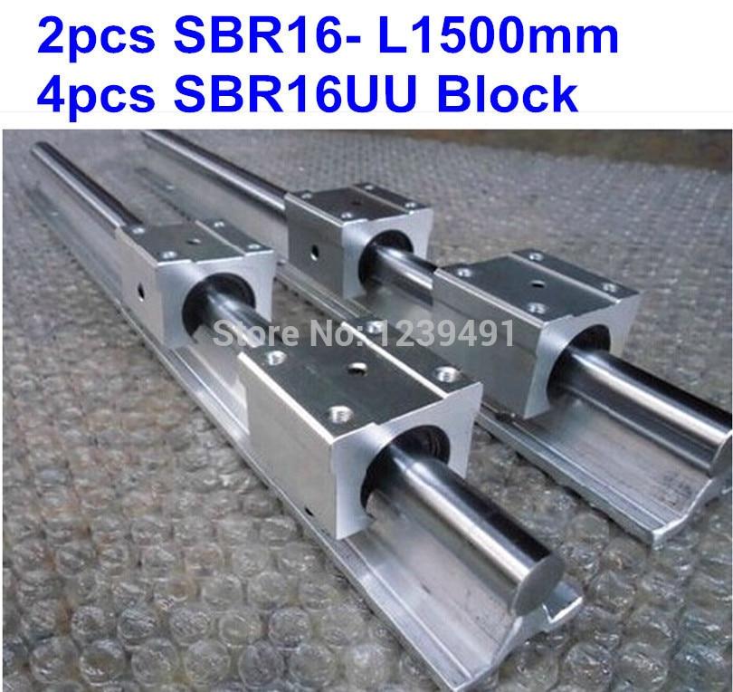 2pcs SBR16 L1500mm linear guide + 4pcs SBR16UU block cnc router 2pcs sbr16 l1000mm linear guide 4pcs sbr16uu block cnc router