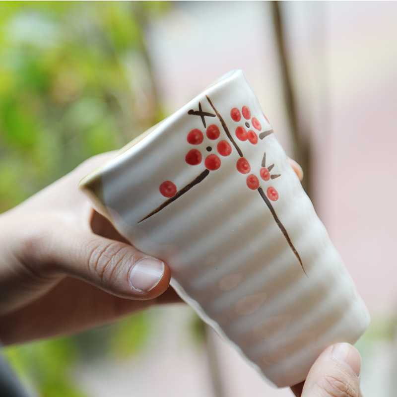 Wholesale Japanese Cherry Blossoms Mouth Cup Creative Mug Milk Tea Ceramic Cups 6 Colors Factory direct sales