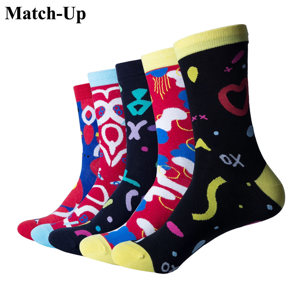 At All Costs 5 Pairs/lot Match-up Men Combed Cotton Funny Socks Colorful Socks Man Casual Novelty Socks