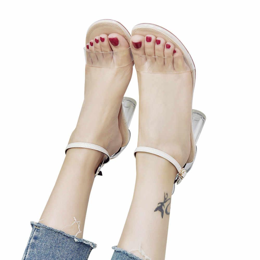 2020 pattini delle donne di Modo Trasparente Sandali Alla Caviglia Tacco Alto Block Party Fibbia Cinghia Scarpe Open Toe Vendita Calda Sandalia Feminina