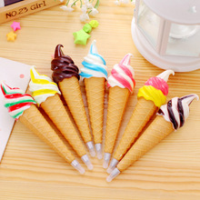 Cute Creative Ice Cream Ballpoint Pens With Magnet Plastic Novelty Ball Pen for Kids Students Gifts School Stationery Supplies 1pcs flexible ball pen cute soft plastic bangle bracelet ballpoint pens school office gifts