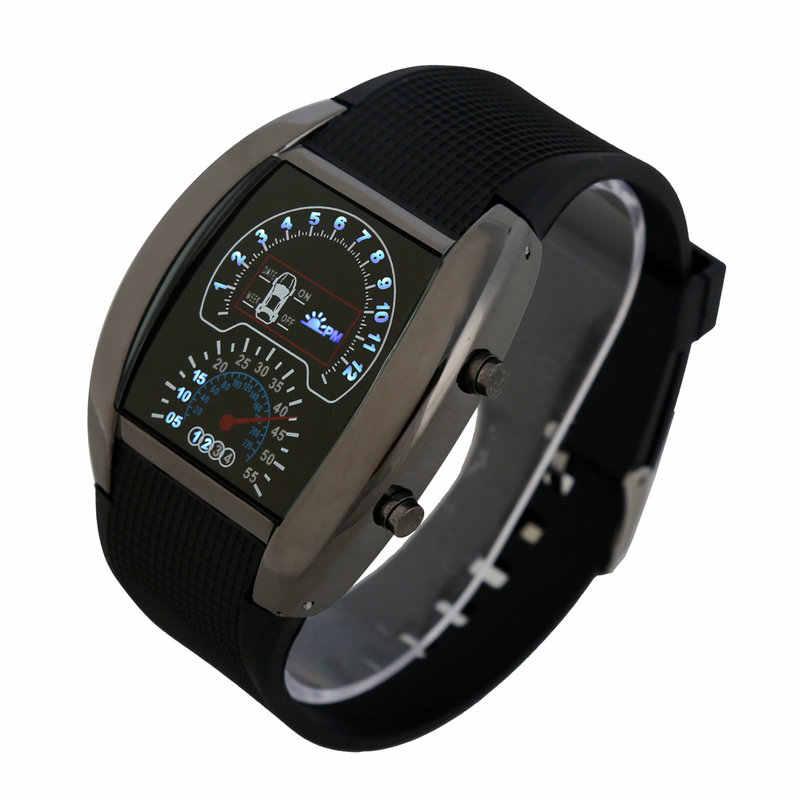 Микс 6 цветов приборной панели светодиодный версия рекламный автомобильный часы секторные спортивные мужские наручные авиационный светодиодный часы RW019