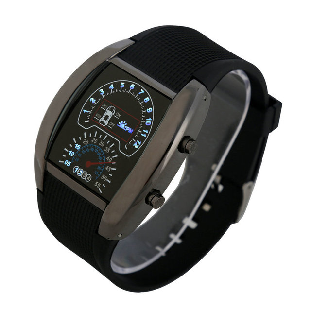 Mix 6colors Dashboard LED Version Promotional Car Watch Sector Sports Men Wrist